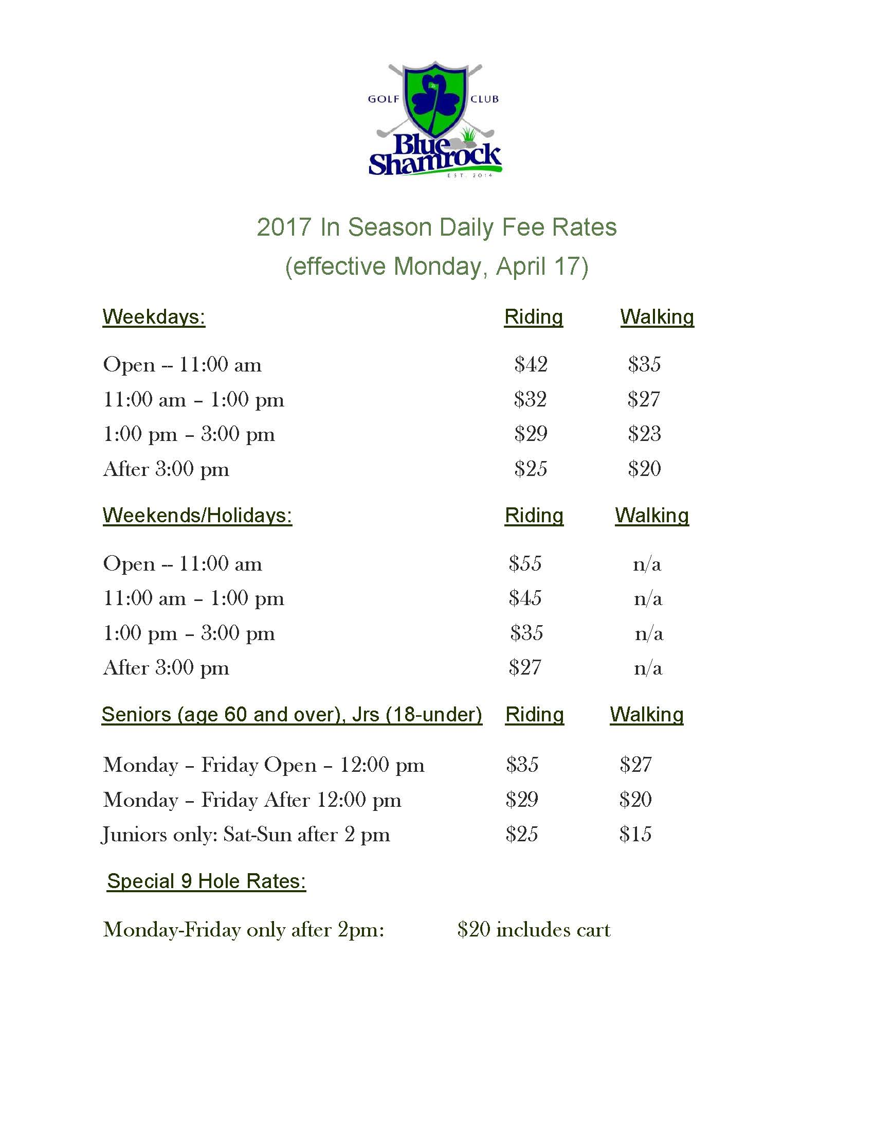 2017 Daily Fee Golf Rates 4