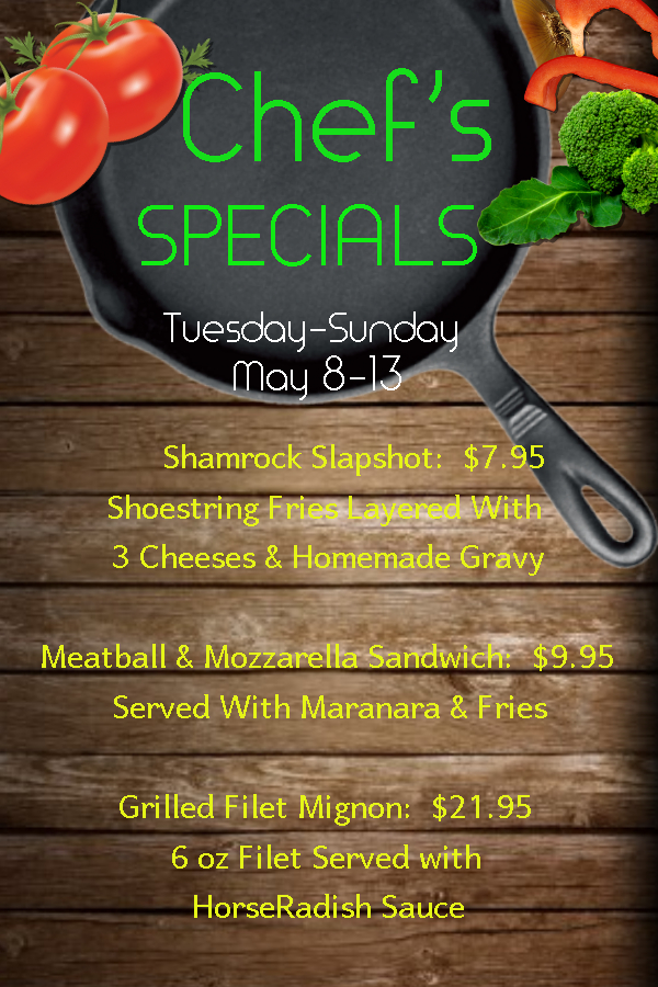 Chefs Specials May 8 13