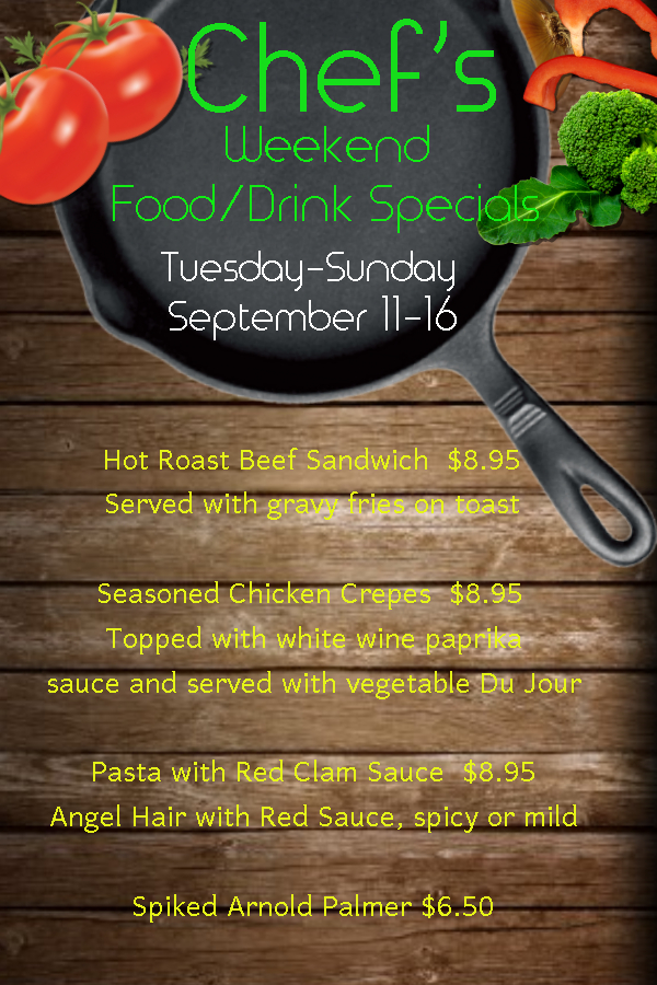 Chefs and Drink Specials Sept 11 16